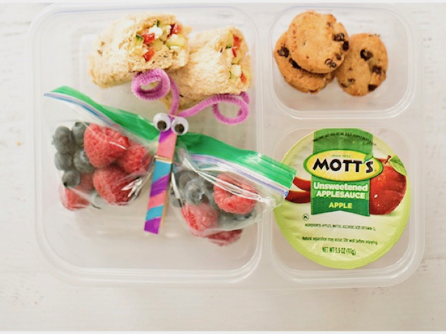 Veggie Wrap, Berries and Applesauce Toddler Lunch