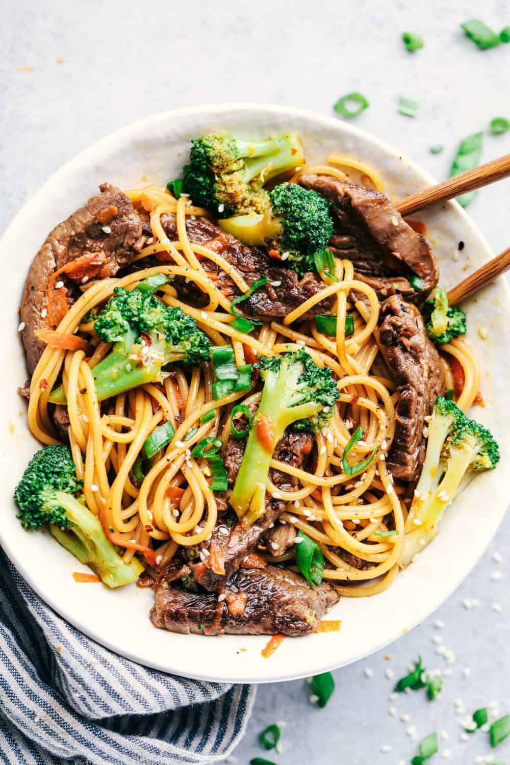 20-Minute Garlic Beef and Broccoli Lo Mein